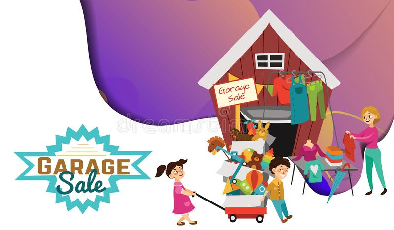 Garage Sale, Sellers sell old goods low price clearing house spring, Woman sell used clothes and shoes, Children bought vector illustration
