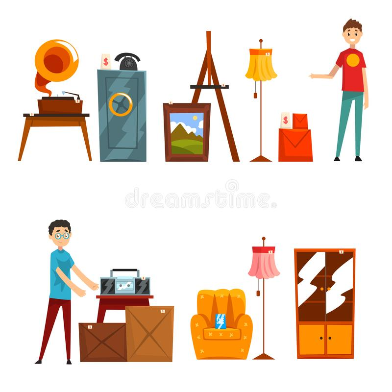 Garage sale set, people buying and selling old things vector Illustration on a white background stock illustration