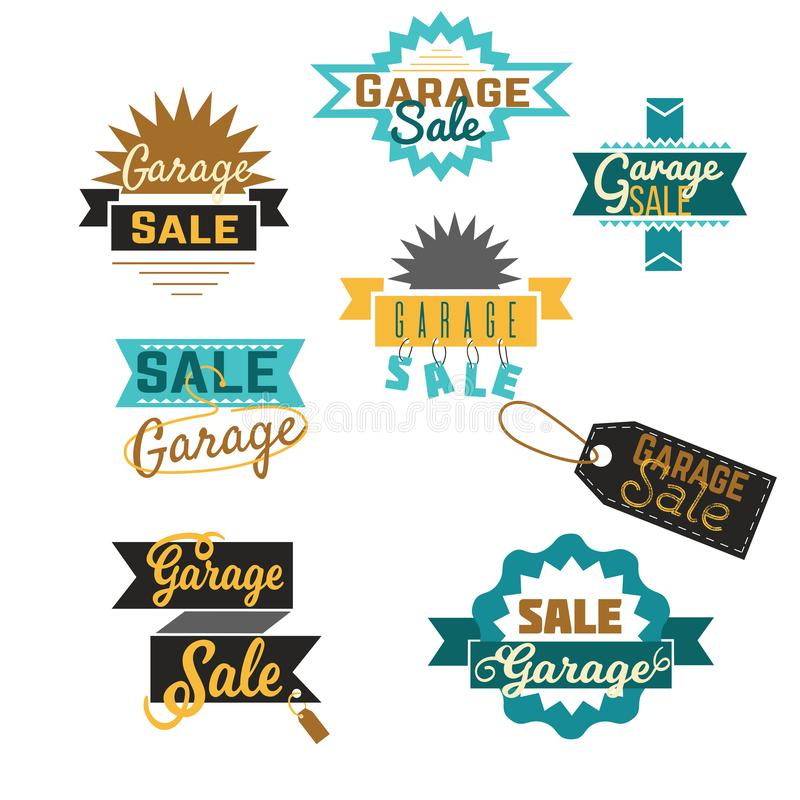 Garage sale sign advertising deals set. Collection consist of logotypes template with total sale vector illustration royalty free illustration