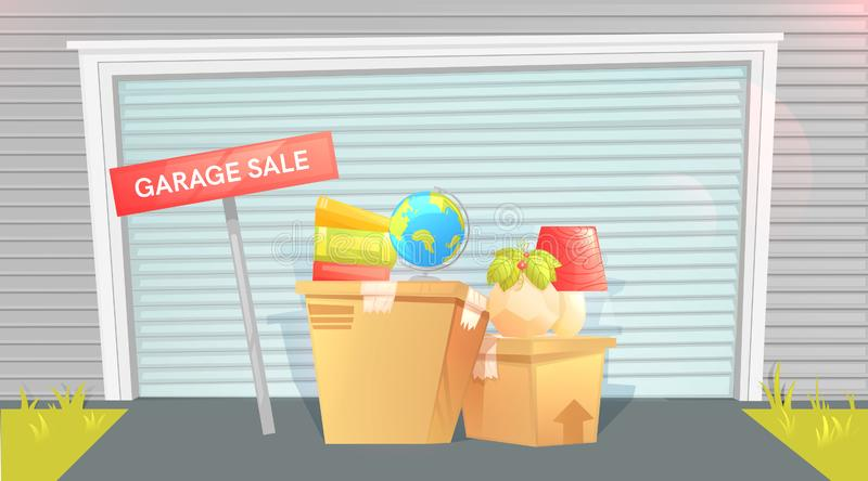 Garage sale, sign with box near a door. Outside the house. Selling things before the move. Let`s moving! stock illustration