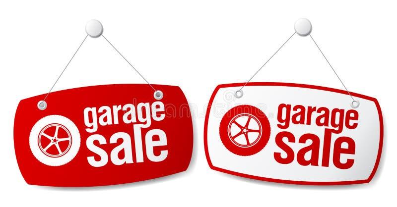 Garage for sale signs. stock illustration