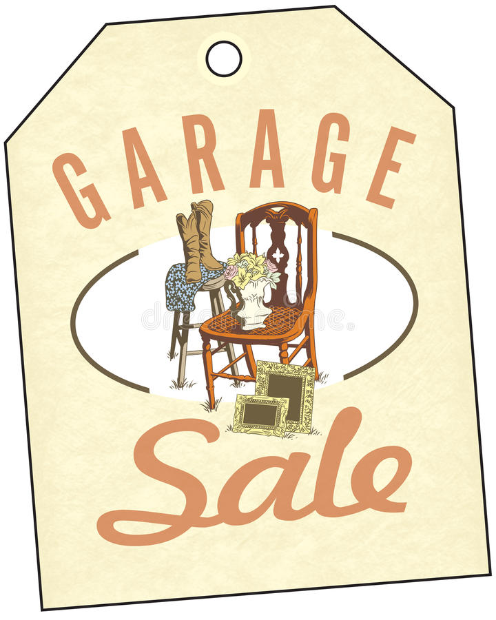 Garage Sale. Spring and summer are the time for home garage sales! Antiques, clothing, colorful goods are stacked outside the house. Junk to some, shopping to vector illustration