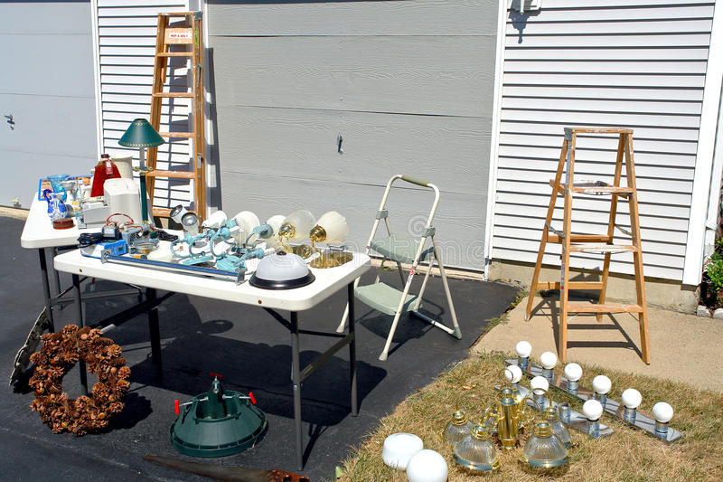 Garage Sale in Suburban House Driveway and Yard stock photography