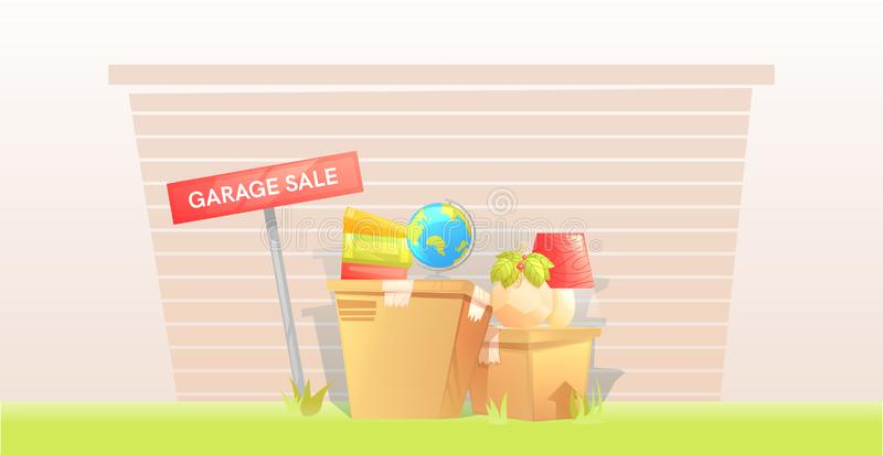 Garage sale, teken met doos dichtbij een deur buiten het huis Het verkopen dingen vóór de beweging Laat ons die bewegen zich! vector illustratie