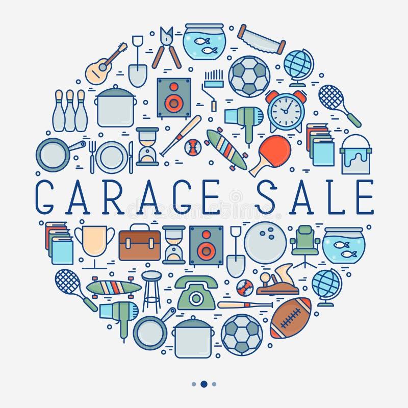 Garage sale of vlooienmarktconcept in cirkel stock illustratie