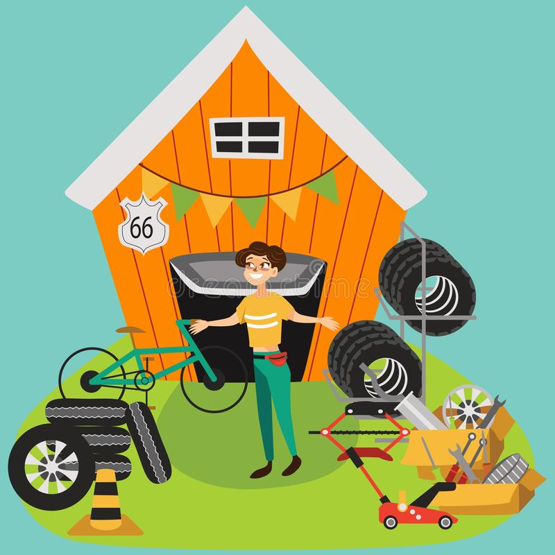 Garage sale, woman sell used car parts, tires wheels in back yard, girl offers spring second hand sale goods vector stock illustration