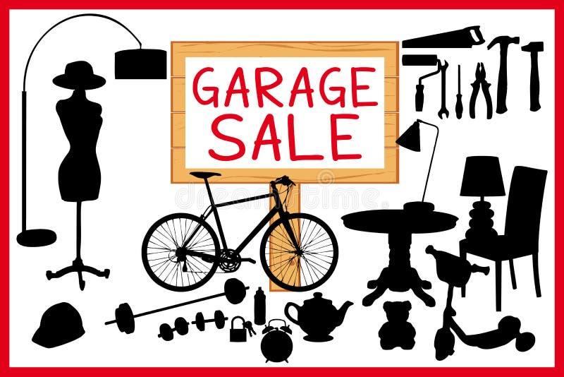 Garage sale woodboard rode cleanoutillustratie met houten uithangbord royalty-vrije illustratie