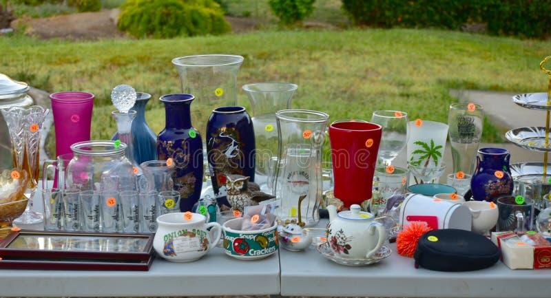 Garage sale yard sale stock photo