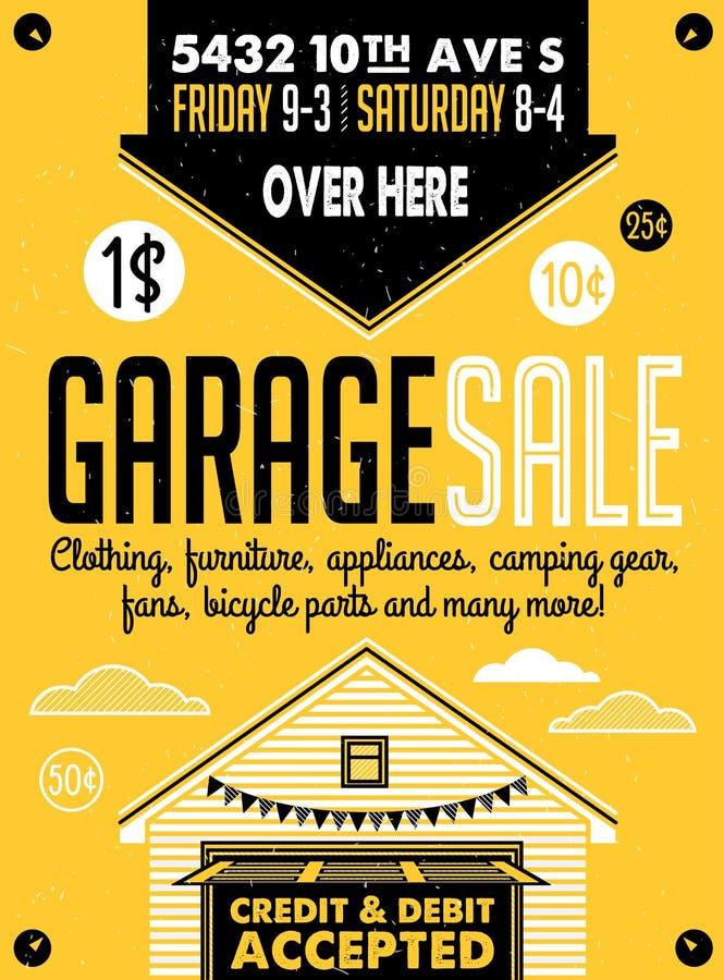 Garage saleaffiche royalty-vrije illustratie