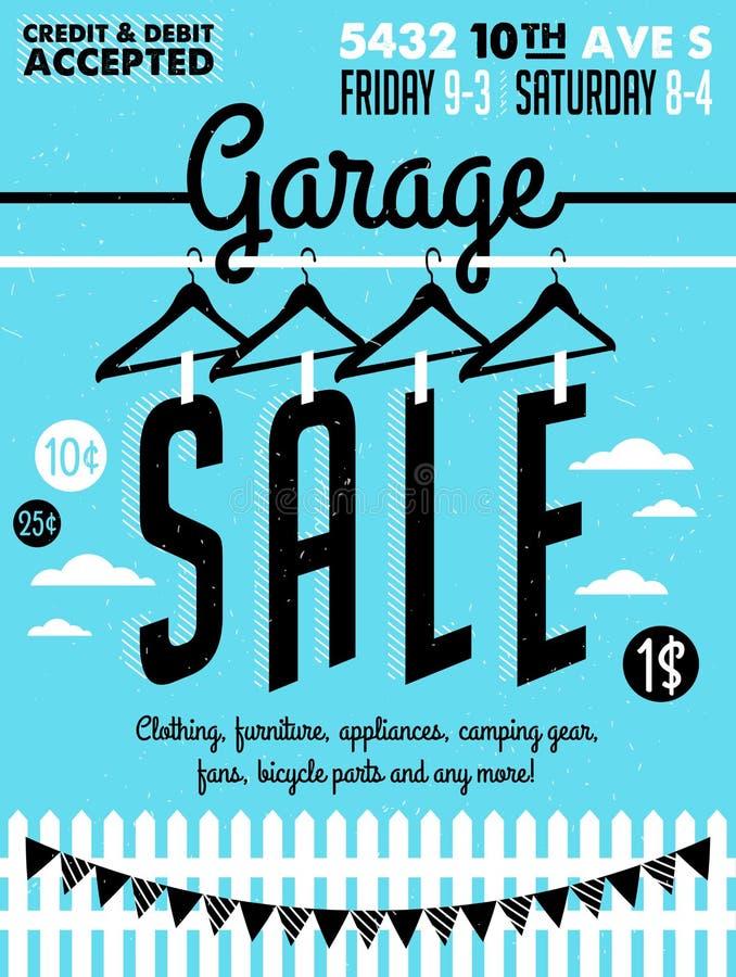 Garage saleaffiche stock illustratie
