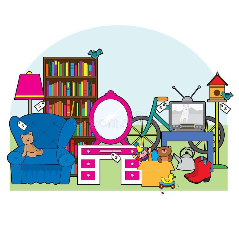 Garage salemateriaal stock illustratie