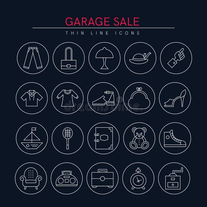 Garage salepictogrammen 3 stock fotografie