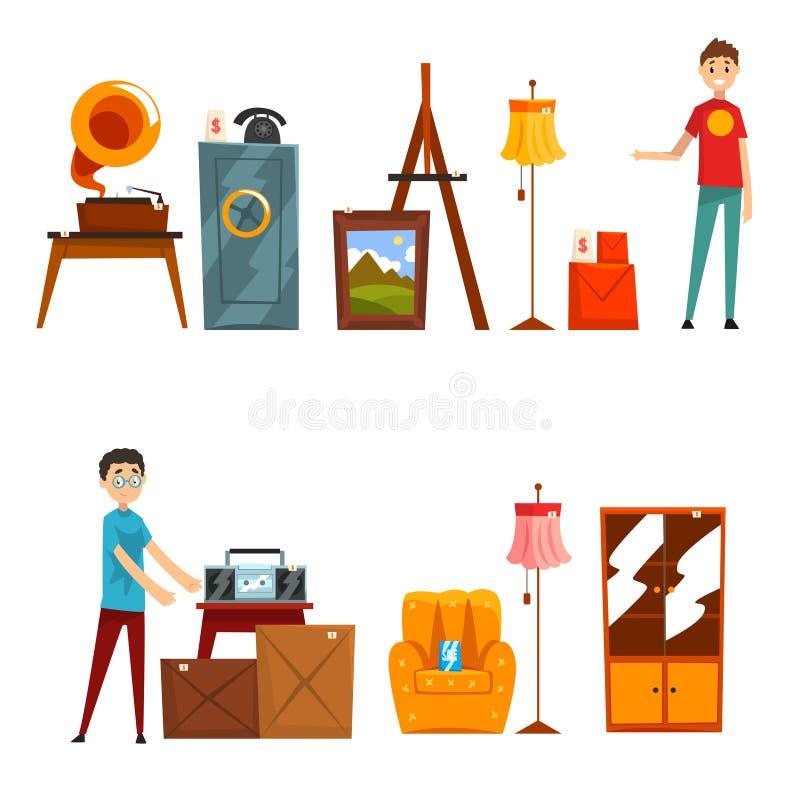 Garage salereeks, mensen die en oude dingen vectorillustratie op een witte achtergrond kopen verkopen stock illustratie