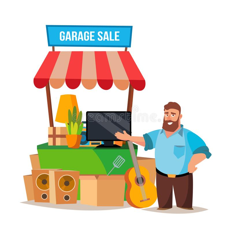 Garage salevector Mens die een Garage sale hebben Geïsoleerd op de Witte Illustratie van het Beeldverhaalkarakter stock illustratie