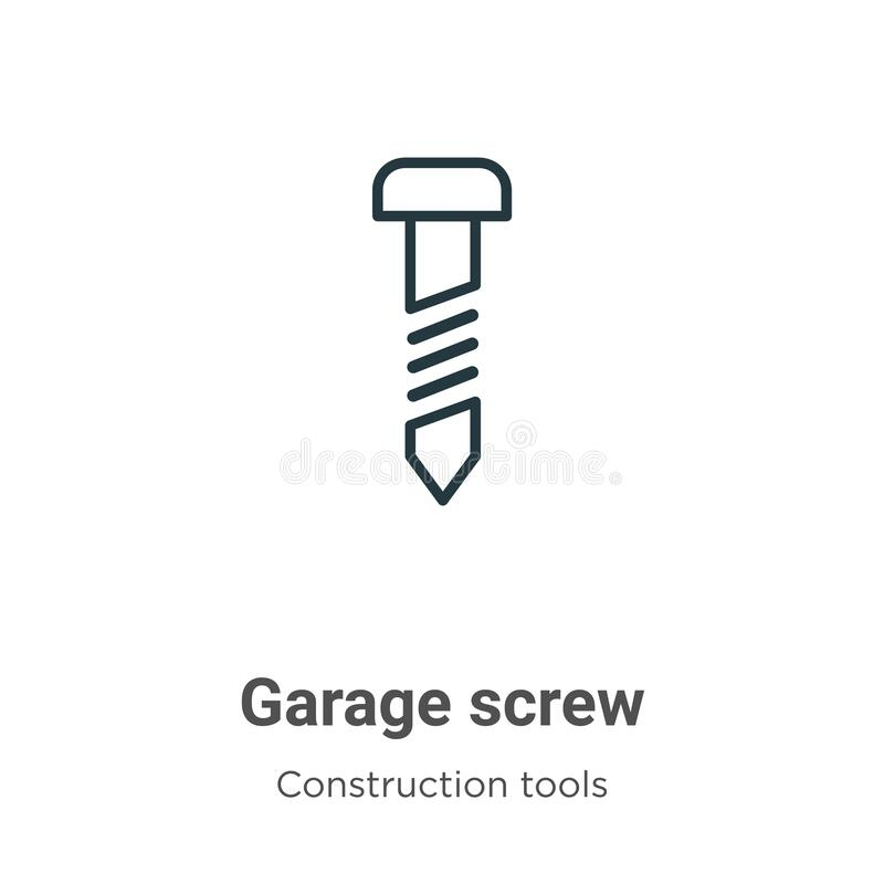 Free Garage Screw Outline Vector Icon. Thin Line Black Garage Screw Icon, Flat Vector Simple Element Illustration From Editable Tools Royalty Free Stock Photography - 175213757