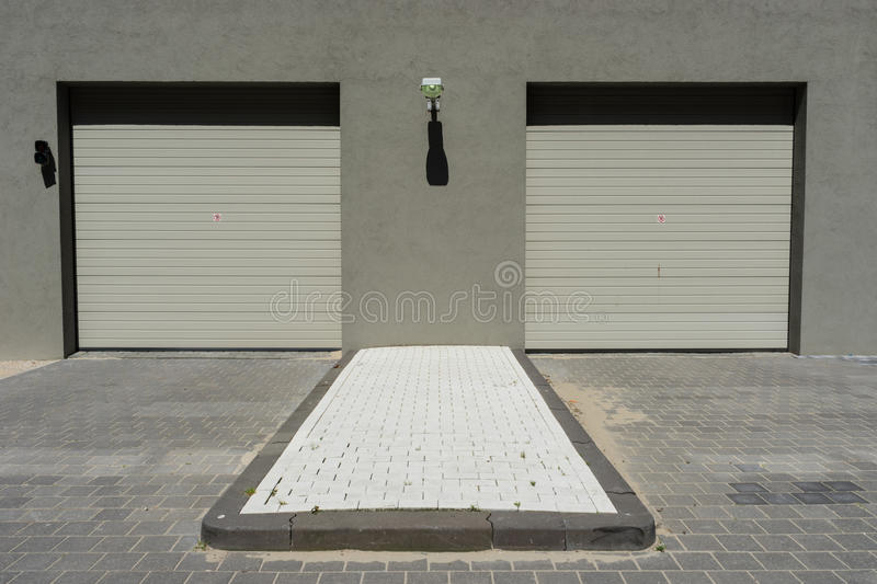 Garage. With two doors in Amsterdam stock photo
