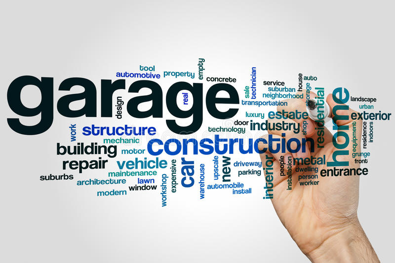 Garage word cloud. Concept on grey background royalty free stock photo
