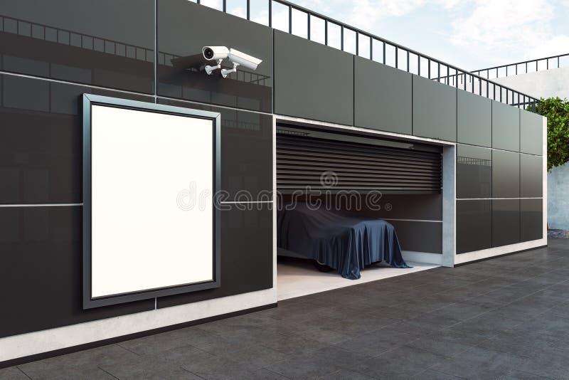 Garagem com o cartaz vazio do anúncio ilustração stock