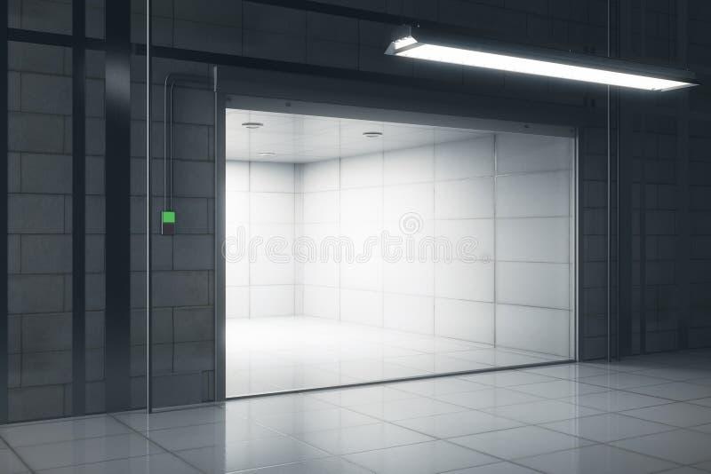 Garagem criativa com lado aberto da porta ilustração do vetor