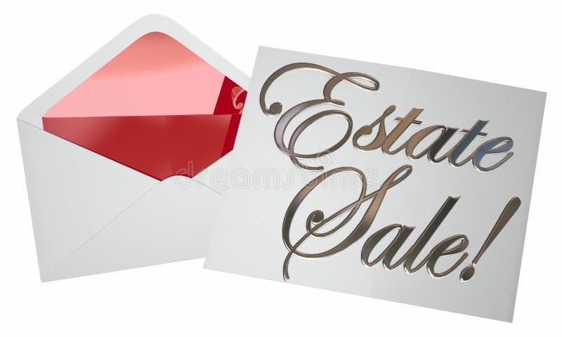 Garagem da propaganda do envelope do convite da venda da propriedade ilustração do vetor