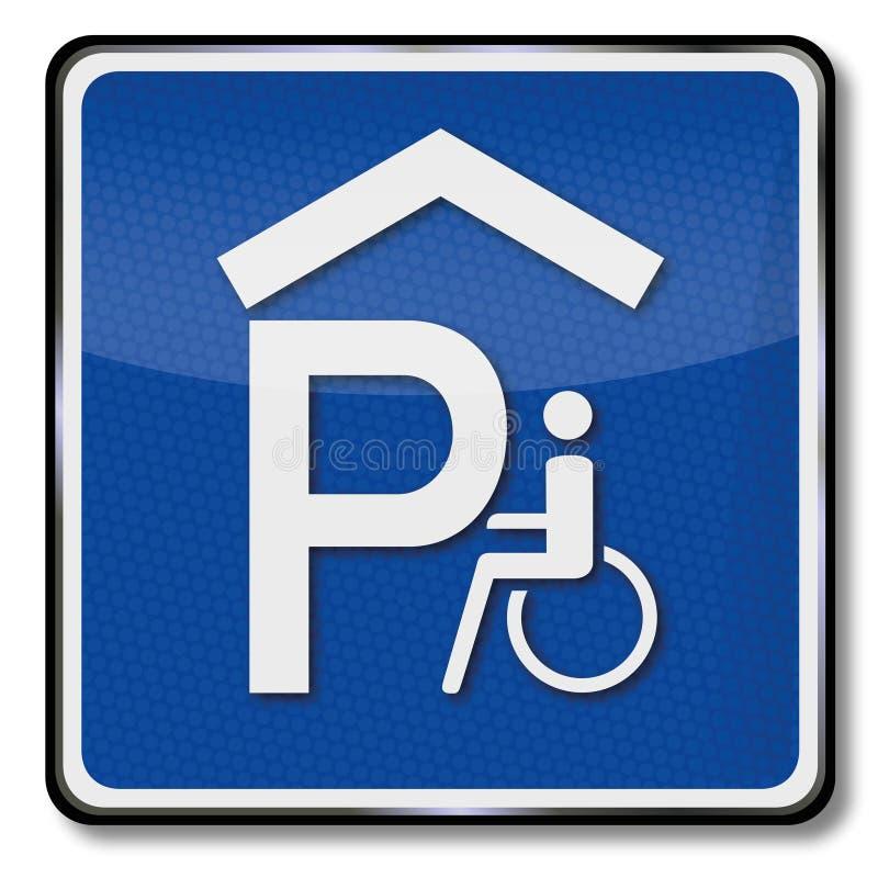 Garagem de estacionamento para usuários de cadeira de rodas ilustração stock