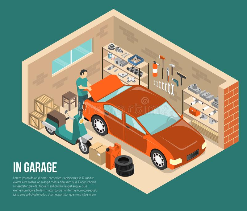 Garagem dentro da ilustração isométrica ilustração do vetor