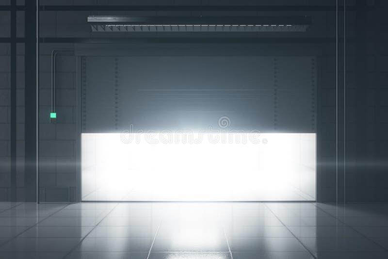 Garagem do Grunge com porta de abertura ilustração stock