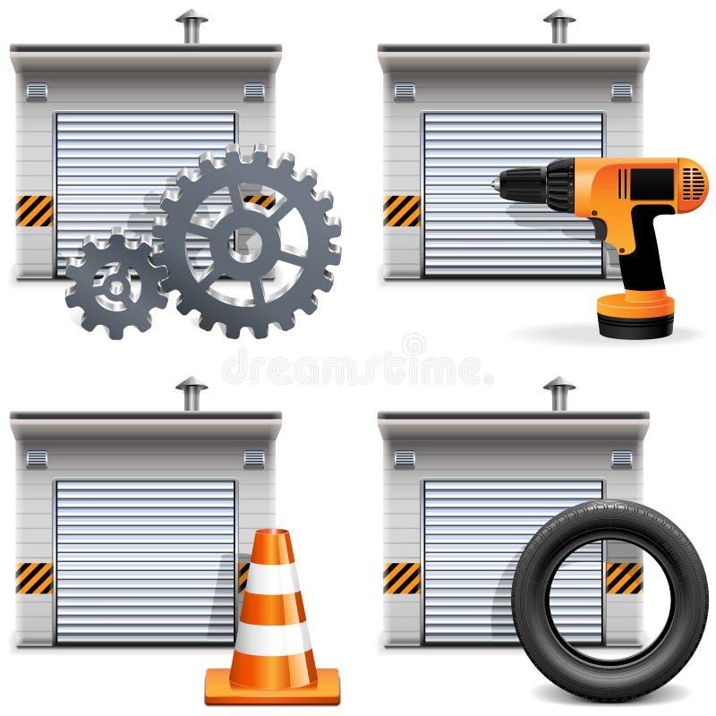 Garagem do vetor com ferramentas e sobressalentes ilustração do vetor