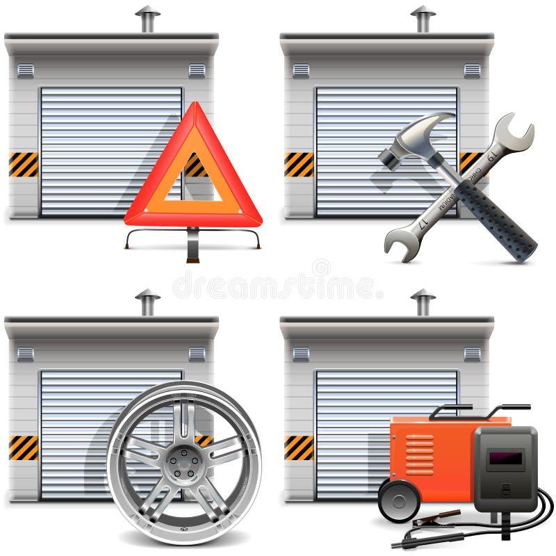 Garagem do vetor com sobressalentes e ferramentas ilustração do vetor