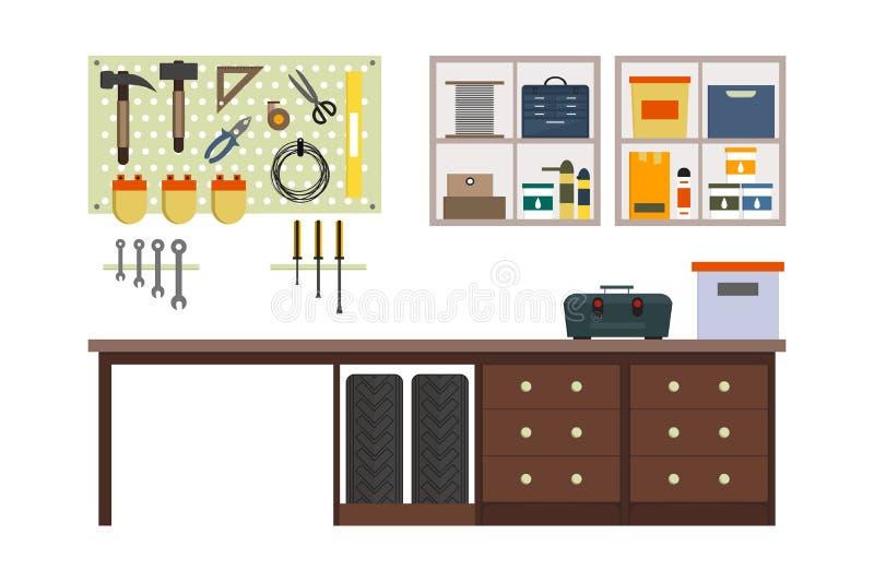 Garagem lisa para dentro ilustração do vetor
