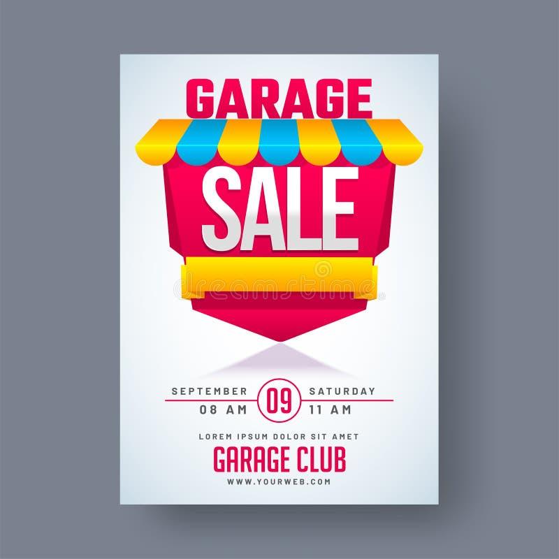Garagem ou cartaz imprimível ou banne do anúncio do evento de venda de jardim ilustração stock