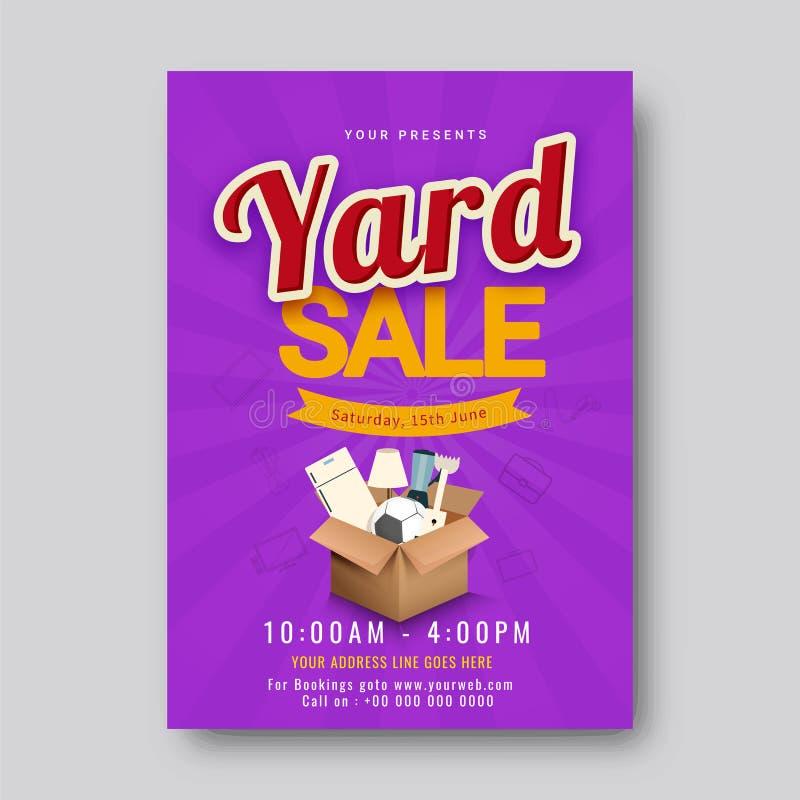 Garagem ou cartaz imprimível ou banne do anúncio do evento de venda de jardim ilustração royalty free