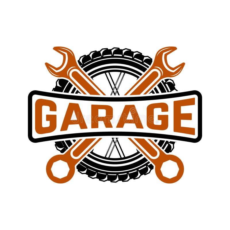 garagem Preste serviços de manutenção à estação Reparo do carro Elemento para o logotipo, la do projeto ilustração do vetor