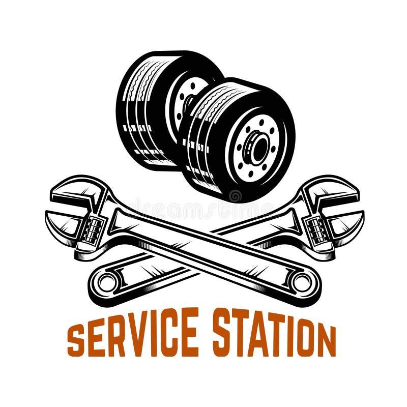 garagem Preste serviços de manutenção à estação Reparo do carro Projete o elemento para o logotipo, etiqueta, emblema, sinal ilustração royalty free