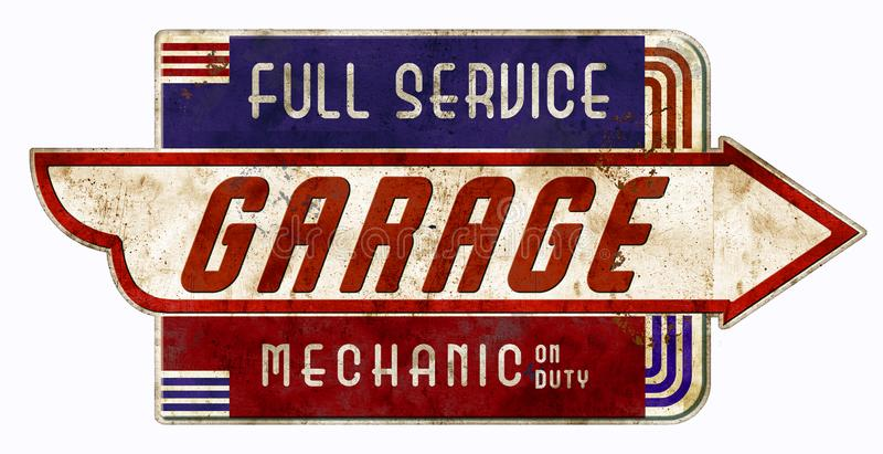 Garagem retro do vintage de On Duty Sign do mecânico fotografia de stock