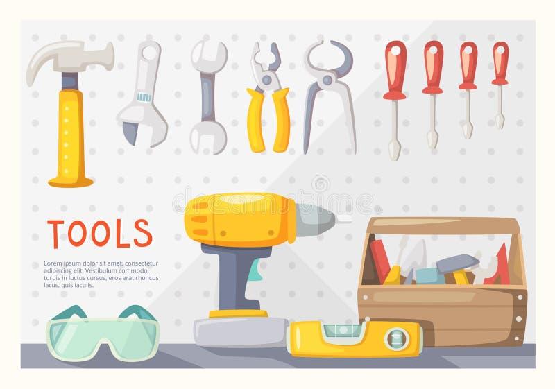 A garagem utiliza ferramentas a disposição ilustração stock