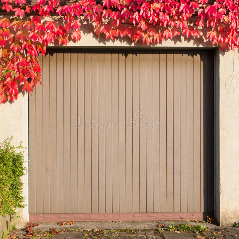 Garagem velha com hera vermelha imagens de stock