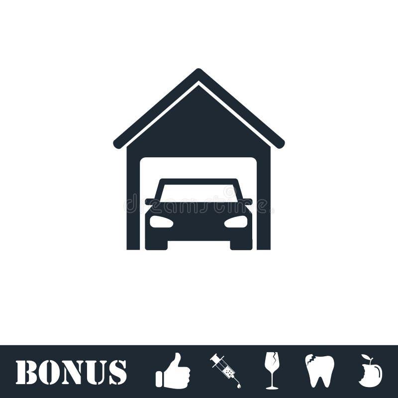 Garagenautoikone flach lizenzfreie abbildung