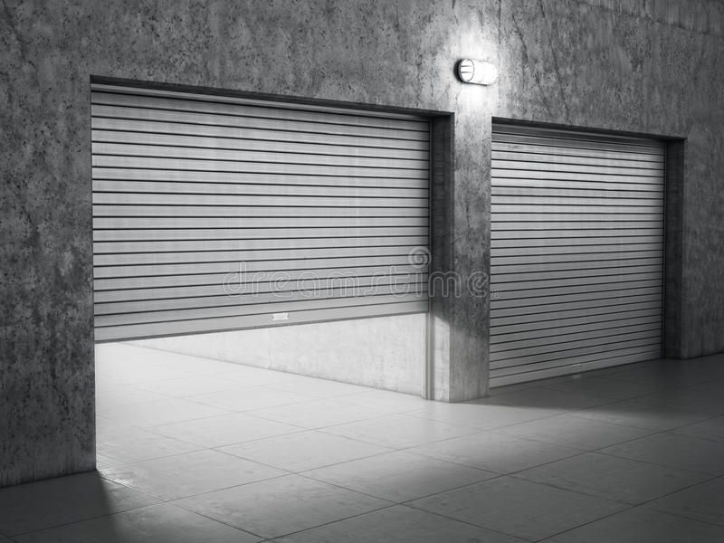 Garagengebäude gemacht vom Beton stockbilder