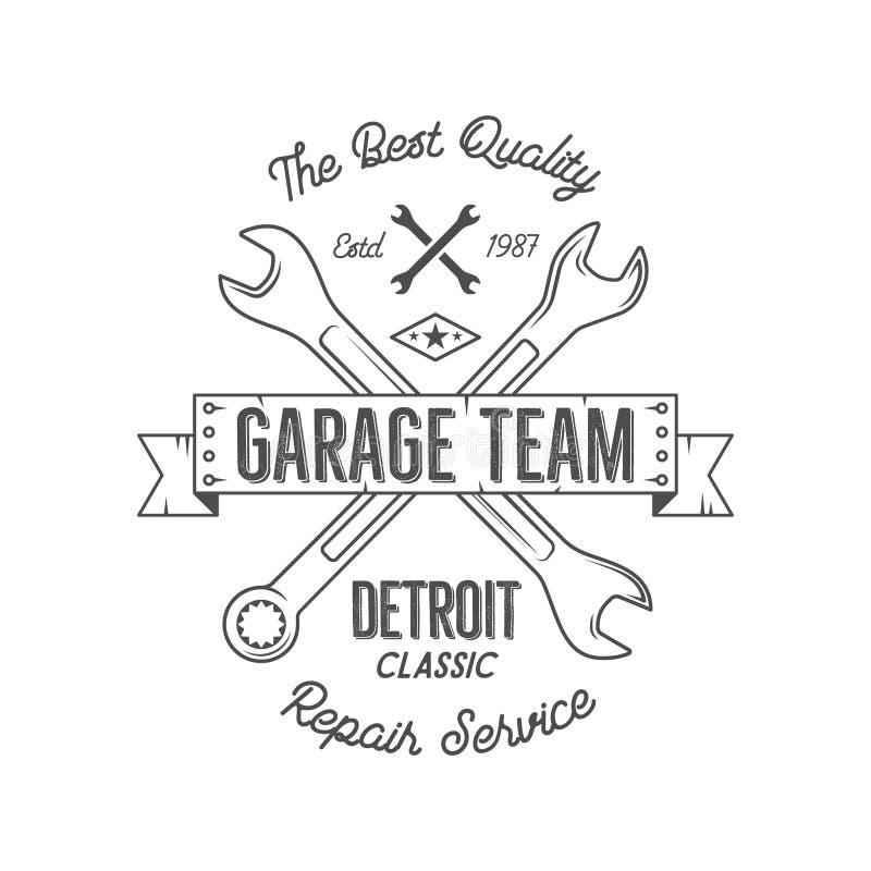 Garagenservice-Weinleset-stück Designgraphiken, Detroit-Klassiker, Reparaturservice-Typografiedruck Schwarzer T-Shirt Stempel stock abbildung