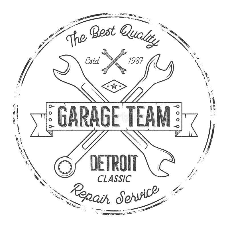 Garagenservice-Weinleset-stück Designgraphiken, Detroit-Klassiker, Reparaturservice-Typografiedruck Schwarzer T-Shirt Stempel vektor abbildung