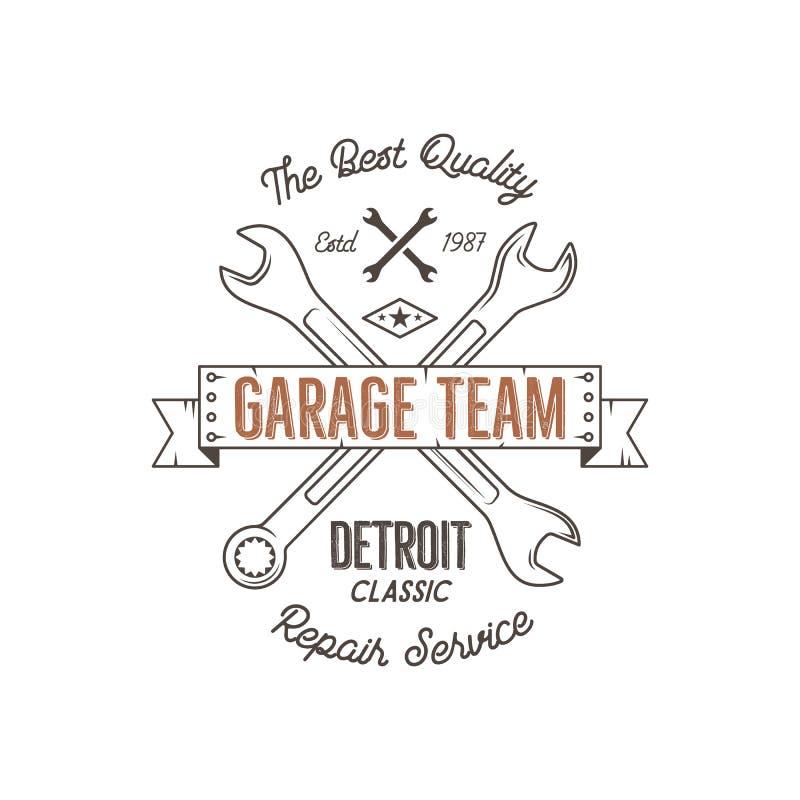 Garagenservice-Weinleset-stück Designgraphiken, Detroit-Klassiker, Reparaturservice-Typografiedruck T-Shirt Stempel, T-Shirt lizenzfreie abbildung