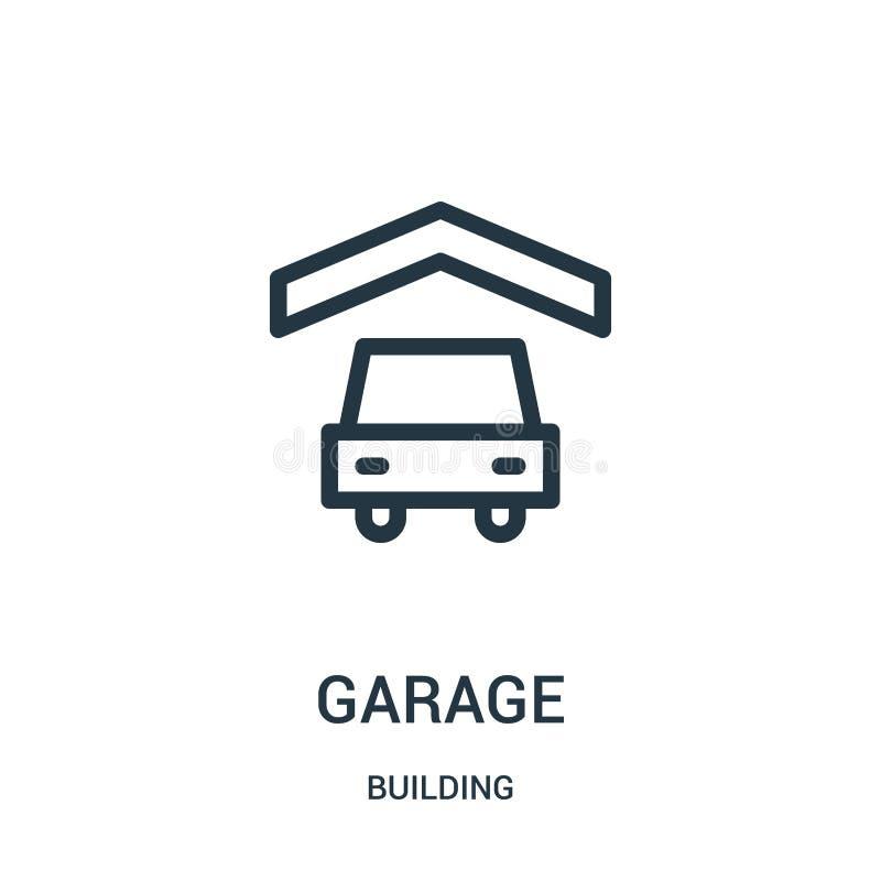 garagesymbolsvektor fr?n byggnadssamling Tunn linje illustration f?r vektor f?r garage?versiktssymbol stock illustrationer