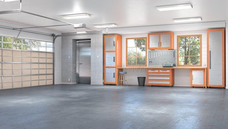 Garaje con el interior de la puerta del balanceo ilustración del vector