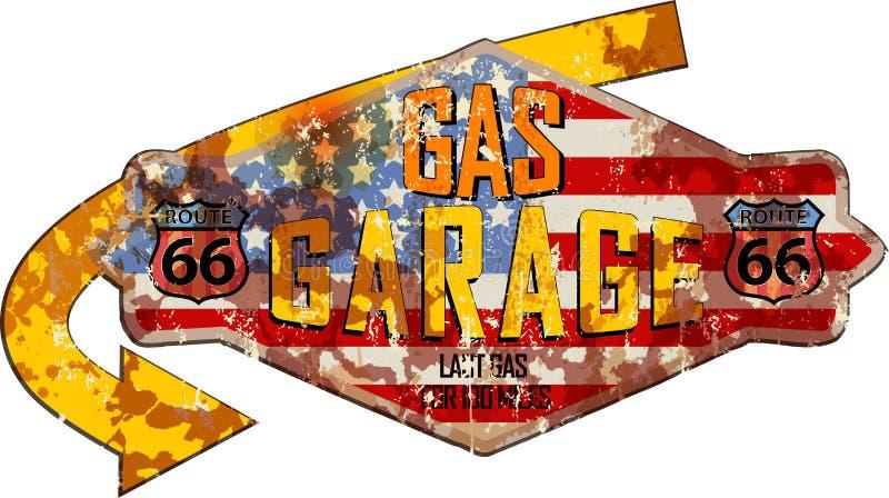Garaje de Route 66 y muestra de la gasolinera ilustración del vector