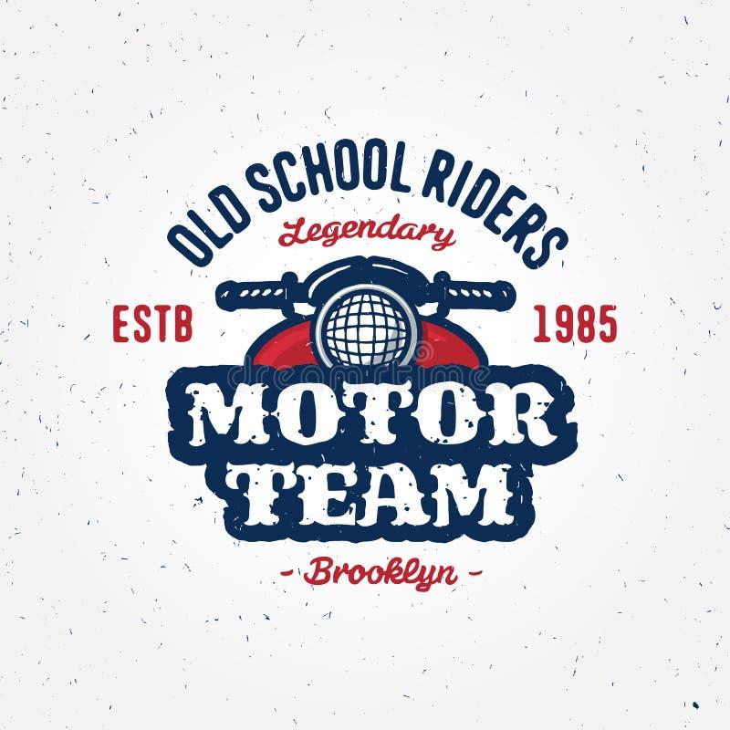 Garaje del club de la motocicleta del vintage o diseño de la ropa de la competencia stock de ilustración