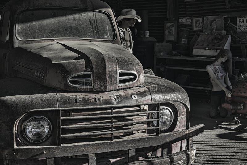 Garaje y taller Route 66 de la almecina imágenes de archivo libres de regalías