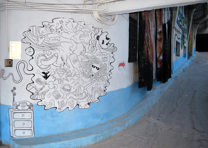 Garajul Ciclop: Graffiti in Boekarest, Roemenië royalty-vrije stock foto