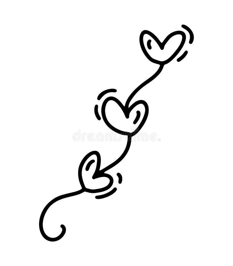 Garaland bonito de Monoline com corações Ícone tirado mão do dia de Valentim do vetor Elemento do projeto da garatuja do esboço d ilustração stock