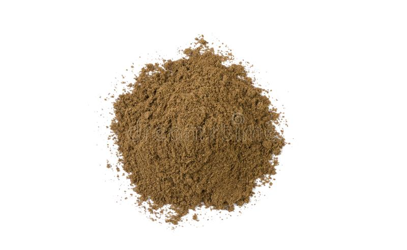Garam masala mix heap isolated on white background. top view royalty free stock images